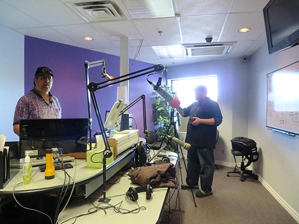 Jackson Twobears action shoot at CKRZ-FM with DJ Al Sault